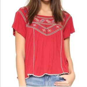Free People Red Floral Square Neck Top